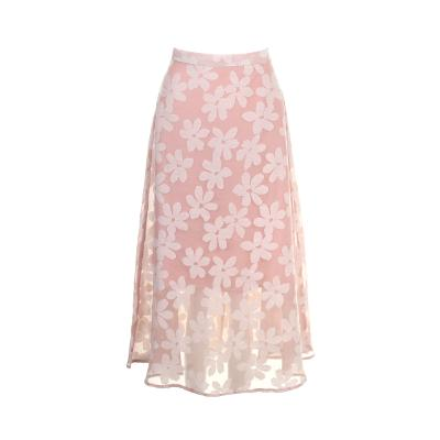 flower pattern sheer texture skirt